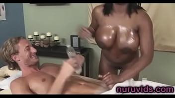 Busty ebony Jada Fire gives awesome cock massage