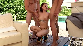 Mistress Madlin blows & sucks the cum out of her 2 Boy toys