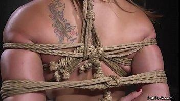 Busty slut first time fucked in bondage