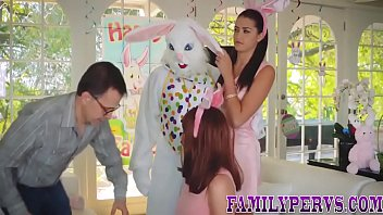 Teen fucks stepdad in easter bunny suit and gets facial