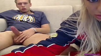 Blonde teen is making blowjob for her boyfriend at live sex webcam show