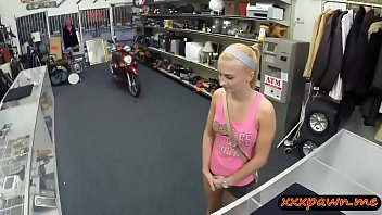 Perky tits blond woman gets twat nailed at the pawnshop