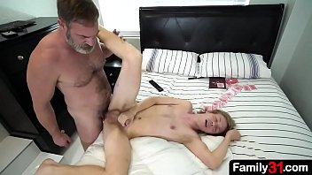Horny and old stepdad fucks stepson and fills him up with hot family DNA