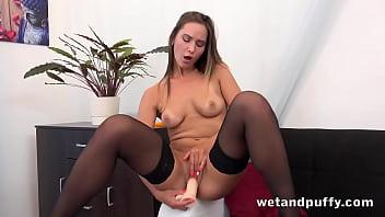 Sexy In Stockings Naomi Benet Loves Her Dildo