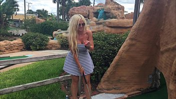 "Hot Blonde ""kelley Cabbana"" fingers pussy in PUBLIC mini golf"