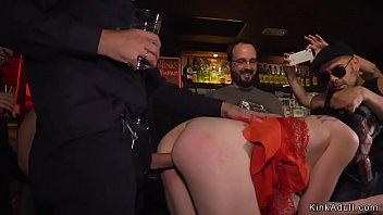 Brunette fucked and disgraced in bar