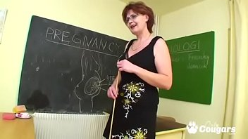 Horny busty teachers - Mature teacher bangs her student in class