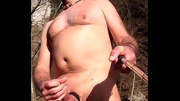nudist with cock ring masturbating