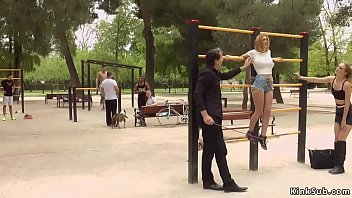 Two European slaves tormented in public