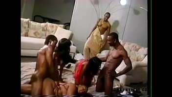 Black orgy party in living room