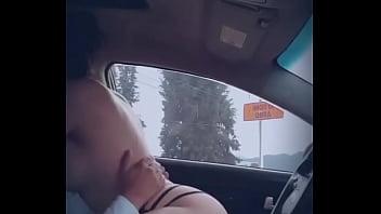 Cogiendo en el auto junto a la carretera