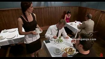 Ultra violent kick in the face femdom brutal Lady takes off panties in restaurant