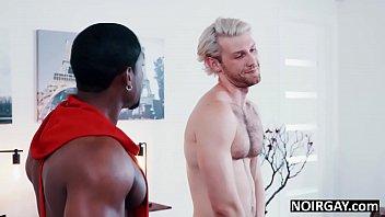 Black gay hunk fucks hot white guy during audition