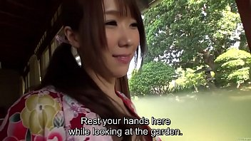 Subtitled uncensored Japanese Hitomi Oki foreplay in ryokan