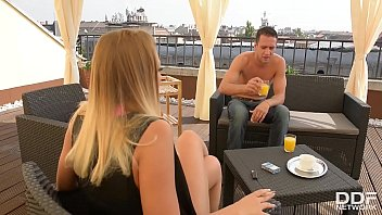 Sexy Nympho Haley Hill Sucking 2 Big Cocks On A Balcony