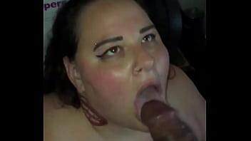 White BBW catches cum from BBC in slow motion