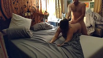 Big tit MILF gets fucked and pussy eaten out while guests are in next room