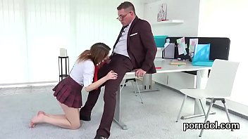 Innocent bookworm gets seduced and drilled by senior teacher