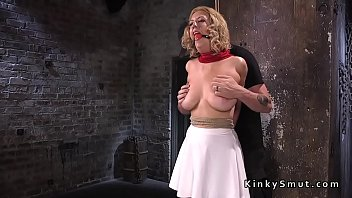 Hogtied big tits - Hairy pussy slave toyed in hogtie