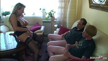 German Big Tits Mom Teach Monster Cock Step s. and Friend to Fuck in Threesome
