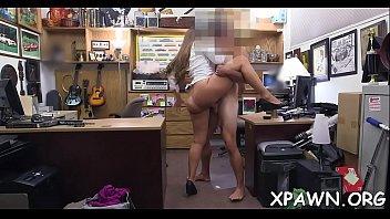 Horny gal has sex in shop