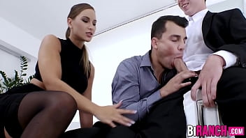 Nude bi actors pictures - Office studs engage in a wild bi threesome with classy babe