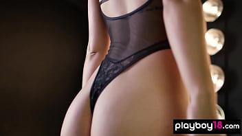 All natural latina pornstar Alina Lopez teasing in sexy black lingerie