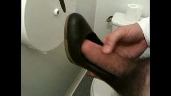 Cum on my coworker Heels in Toilets 01