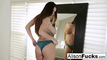 Six foot Hottie Alison Tyler stuffs her pussy with a toy