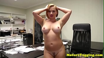 Milf secretary jerking cock in amazing pov