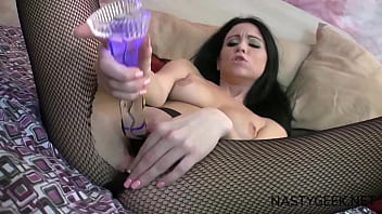 Horny brunette squirt with dildo