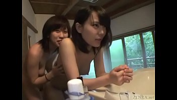 Subtitled real Japanese amateur lesbians self shot onsen