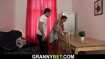 Small tits granny sucks and rides his dick