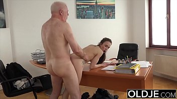 Teen with old cock in her mouth she gags on it but loves grandpas