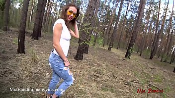 Public outdoor fuck  for fit teen in the forest. Mia Bandini. - 69VClub.Com