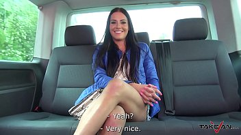 Brunette with no tits ask for ride horny stranger in van
