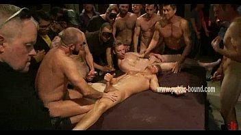 Horde of gay cocks hard around sex slave