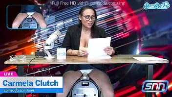 News Anchor Carmela Clutch Orgasms Live On Air