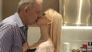 Blonde hot sex with old bald guy