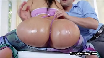 Super PAWG brunette gags and fucked while oiled