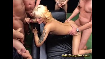 Movie sperm swallowing German milf in bukkake groupsex orgy