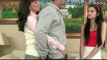 Horny big juggs MILF fucks teen couple on a couch