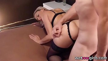 German blonde in stockings gets facial after anal