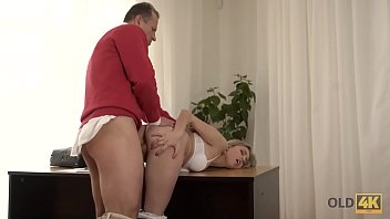 OLD4K. Dirty-minded daddy invites blonde angel Ellen Jess inside to have sex
