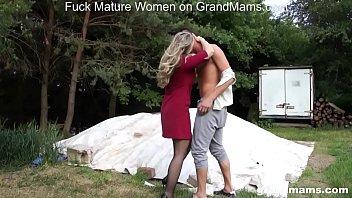 GrandMams.com Horny Grandmom Laura Fucks Young Stud thumbnail