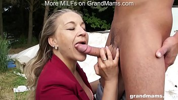 GrandMams.com Horny Grandmom Laura Fucks Young Stud pornhub video