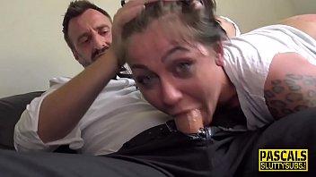 Throat fucked fetish tattooed sub gets plowed