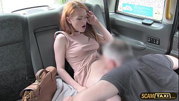 Sweet Ella takes a big cock in the taxi and receives a hot cum