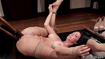 Busty Milf sub dp toyed in bondage