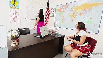 Teachers Sara Jay &amp_ Angelina Castro Fuck Pupil Gia in Class!